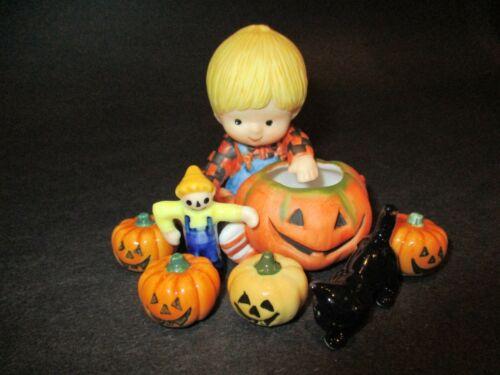 Vintage Halloween Bug House Miniatures & Boy Country Cousins Figurine