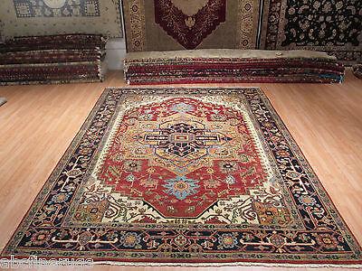 9x12 Persian MUSEUM Heriz Serapi Vegetable Dye Handmade-knotted Wool Rug 580727