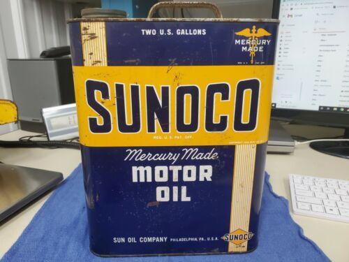 ANTIQUE VINTAGE SUNOCO MERCURY MOTOR OIL 2 GALLON OIL CAN - FREE SHIP