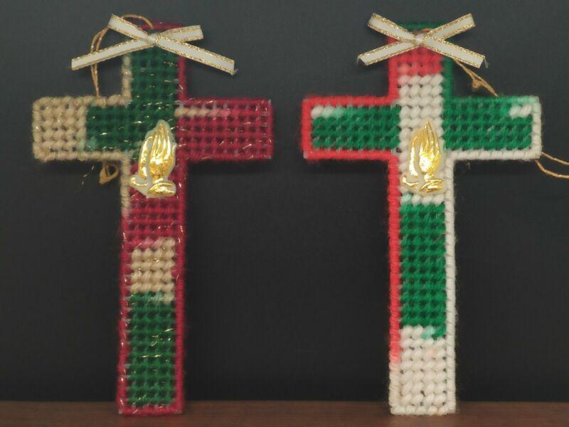"2 Vintage Crochet Cross Religious Christmas Ornaments 5.25"" Tall"