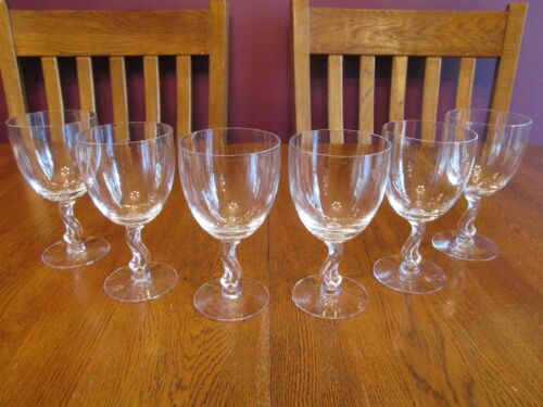 6 Beautiful Vintage Fostoria Crystal Contour Water Goblets ~ Scroll Stem Detail