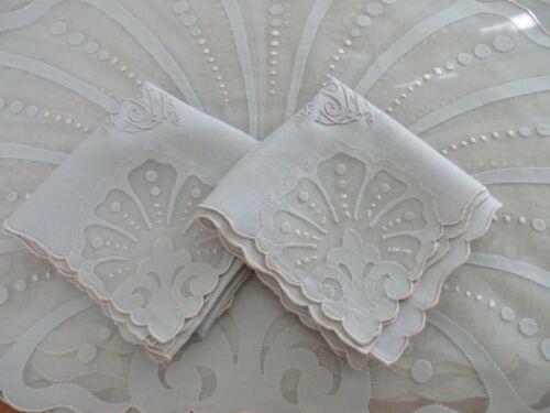 SET 6 Vtg Antique Placemats 2 Napkins MADEIRA Organdy Linen Shells Gray Pink