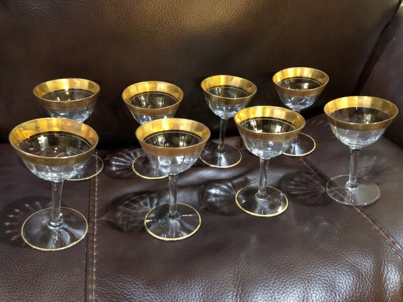 Set Of 8 TIFFIN Crystal Gold Trim & Ring Sherry Wine Champagne Glasses