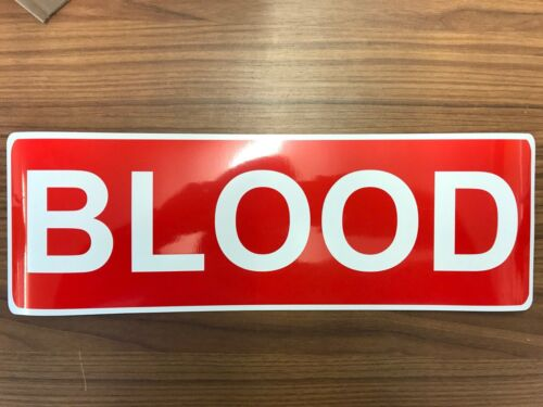 Magnetic sign 2 x BLOOD RED with white text vehicle signage