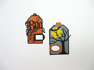 Halloween Tags For Cards or Scrapbooking Paper Pieced Cardstock Die Cut](Tags For Halloween)