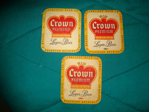 3 Crown Premium Beer Brewery Coasters Original & Vintage Brewerianba!!