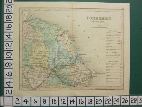 c1840 VICTORIAN MAP YORKSHIRE NORTH RIDING ~ TOWNS CROSS ROADS STATIONS POLLING