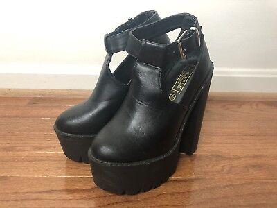 Truffle Collection Black Ankle Platform Boots US Size 7 *NEW* Adult Black Platform Boots