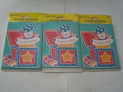 3 PACKS  VINTAGE WISHING WELL KIDS BIRTHDAY PARTY INVITATIONS - (Jack In The Box Party Pack 3)