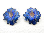 Vintage Earrings Blue Flower