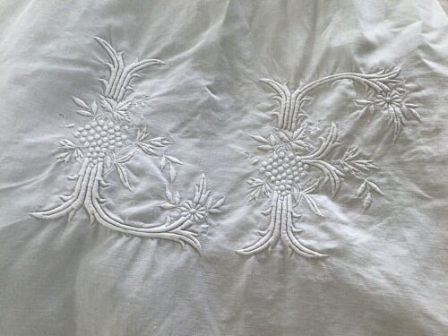 """Fabulous Antique/ Vintage  French Linen Heirloom Dowery Sheet Hand Monogram """"LF"""""""