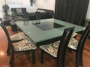 Black / Glass Formal 8 seater Dining Setting