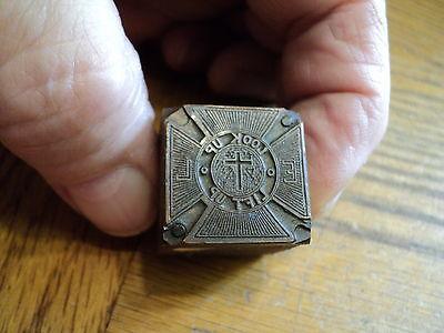 Vintage Look Up Lift Up Epworth League  Printing Press Ink Stamp Block
