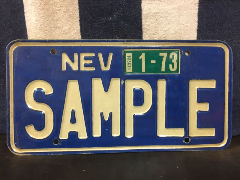 Vintage 1973 Nevada SAMPLE License Plate