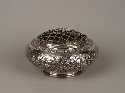 A Hallmarked Malay Sterling Silver Rose-Bowl & Grill Form Cover.
