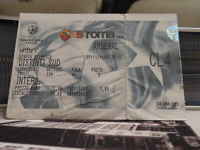 TICKET : AS ROMA - ARSENAL 2002/2003 CHAMPIONS LEAGUE