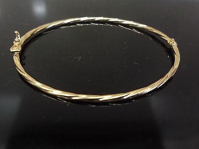 Neu Armreif 9 Karat 375 Gelbgold Schmaler Hohl Gedreht Hergestellt in Italien