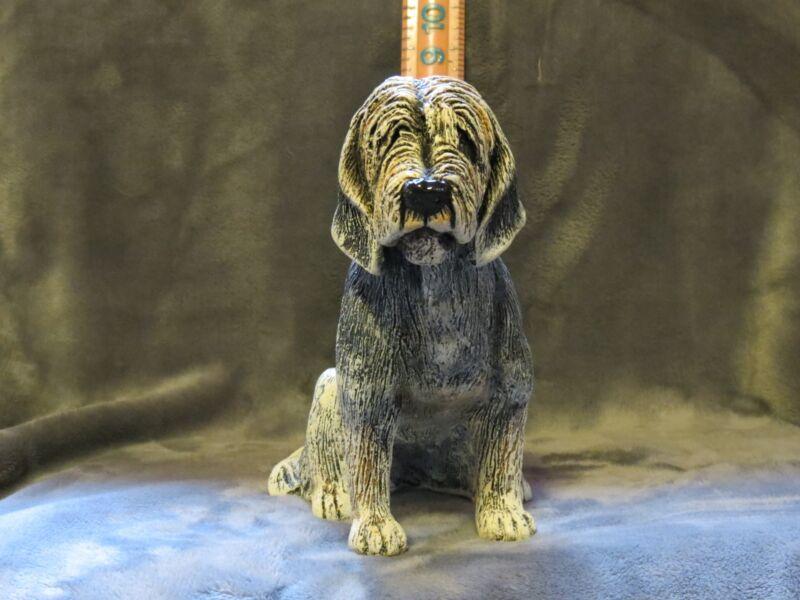 OTTERHOUND PLASTER DOG STATUE HAND CAST AND PAINTED BY T.C. SCHOCH