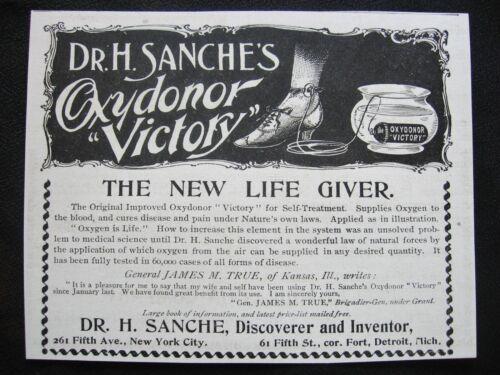 "1890s Dr H. Sanche Oxydonor""VICTORY""Quack Medicine Cure Print Ad~New Life Giver"