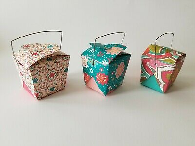 Chinese Take Out Boxes Designer Floral Set Of 6 With 3 Designs Small Favor Size