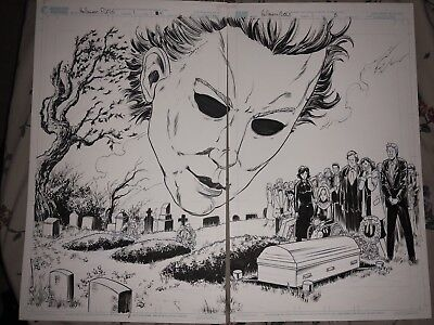 Halloween DDP Michael Myers first Death Of laurie Strode OA Art Comic Carpenter (Halloween Laurie Strode)