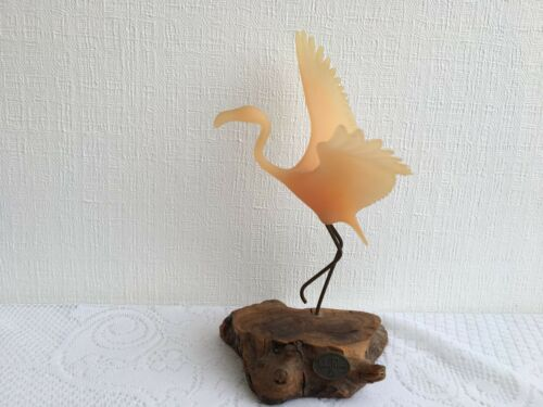 Vintage JOHN PERRY Pink Flamingo on Wood Base (76)