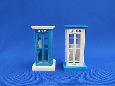 O SCALE - PLASTICVILLE  - (2) VINTAGE TELEPHONE BOOTHS