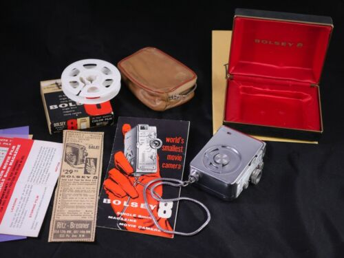 Bolsey Subminiature Super 8 Movie Camera W/ Leather Case, Filters
