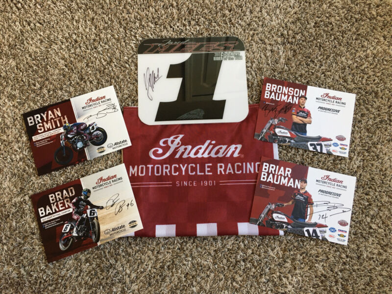 Indian Wrecking American Flattrack AMA Racing Signed Mees, Baker, Smith, Bowman