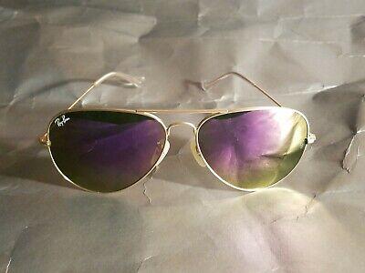 Ray Ban RB3026 Aviator Unisex Sunglasses 62MM Gold Frame/Purple Mirror Lens