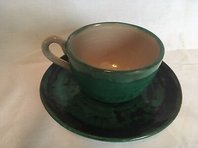 Texas Rose Cup and Saucer Green Stangl Vintage