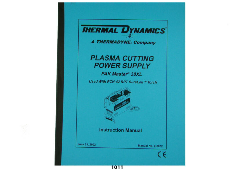Thermal Dynamics PakMaster 38 XL Plasma Cutter t Instruction  Manual *1011
