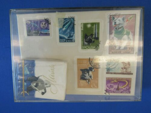 VINTAGE COLLECTIBLE LAIKA SPACE DOG DISPLAY  RUSSIAN STAMPS COSMONAUGHTS