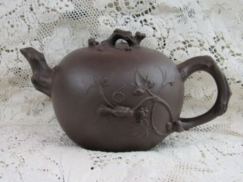 Chinese Zisha-Hu  YIXING CLAY TEAPOT Tree Branches & Squirrel Design Signed
