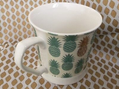 (Grace Fine Porcelain Pineapple  Coffee Cup Green White Gold New)