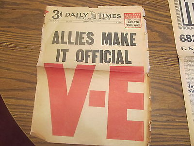 2 Patial World War 2 Newspapers May 7 8 1945 V-E Day Chicago