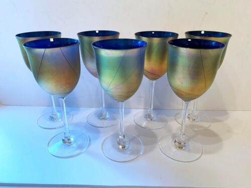 Steven Maslach Iridescent Art Glass Wine Goblet Glass 1988