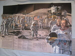 VINTAGE APOLLO 13 CREW NASA POSTER NEIL ARMSTRONG National Geographic 1973 MINT