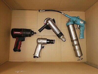 """4x Air Tools 1/2"""" Impact Wrench 4"""" Angle Grinder Air Hammer & Grease Gun"""