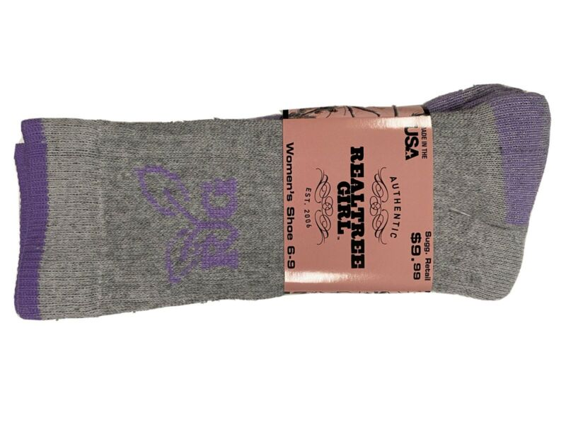 2 Pair Womens RealTree Wool Crew Socks Size 6-9. Gray/Purple