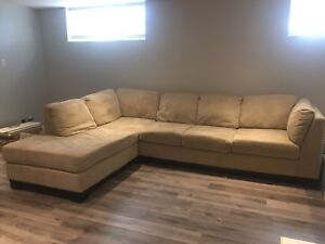 Beige Microsuede Sectional Couch