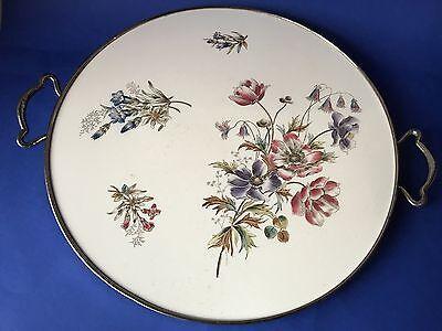 Antike Tortenplatte Kuchenplatte Keramik silberne Metallmontur Serviertalett
