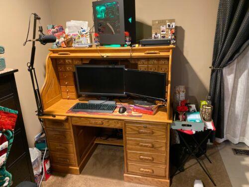 Roll Top Solid Oak Desk
