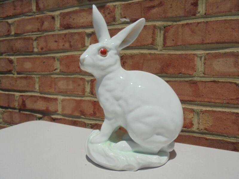 Extra Large Herend Hungary Porcelain White Rabbit Bunny Figure #5334 11 3/4""