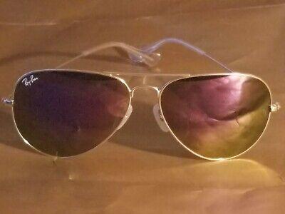 Ray Ban RB3026 62MM Aviator Unisex Sunglasses Gold Frame/Purple Flash Lens (Purple Ray Ban Aviators)