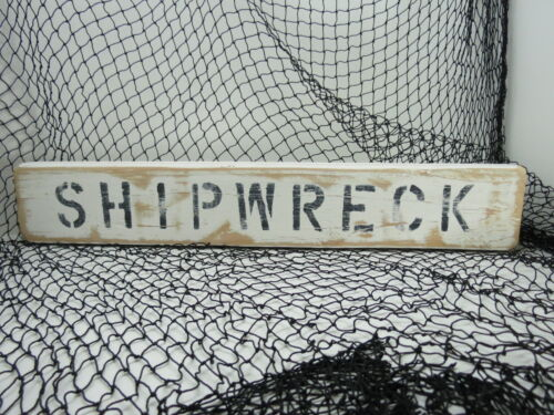 21 INCH WOOD HAND PAINTED SHIPWRECK SIGN NAUTICAL SEAFOOD  (#S771)