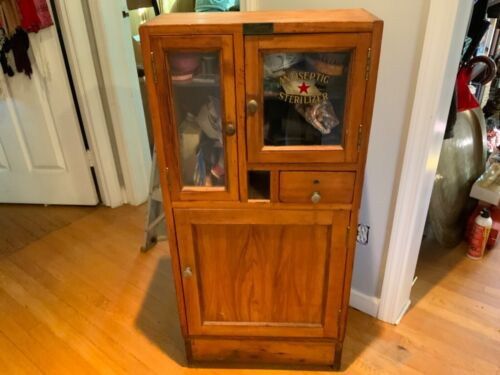 Antique Oak Barber Shop Sterilizer Cabinet w/Original Plate