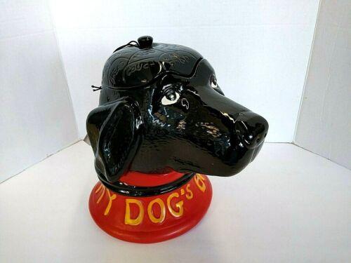 My Dogs Brain Cookie Treat Jar Artist Stephen Huneck Black Lab Collector Item