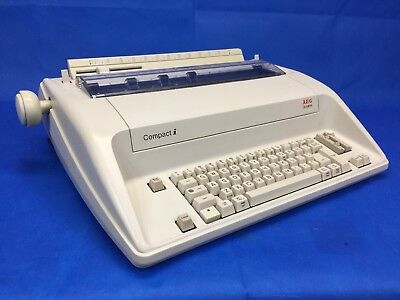 Aeg Olympia Compact I Typewriter Vintage W Manual Dust Cover Works Clean