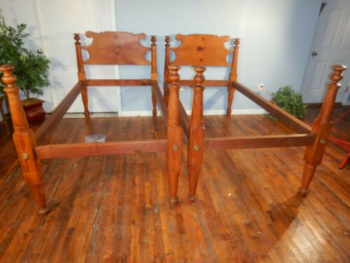 Pair Antique Twin sized Maple Rope Beds Maple Pine & Walnut